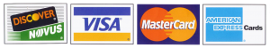 We accept MacterCard, VISA, American Express and Discover cards